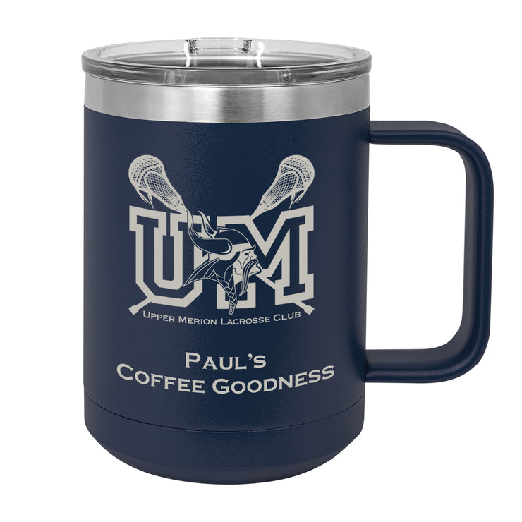 UM Lacrosse 15 oz. Navy Blue Insulated Mug with Handle and Slider Lid
