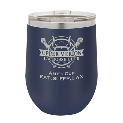UM Lacrosse Custom 12 oz. Navy Blue Stemless Insulated Tumbler with Clear Lid