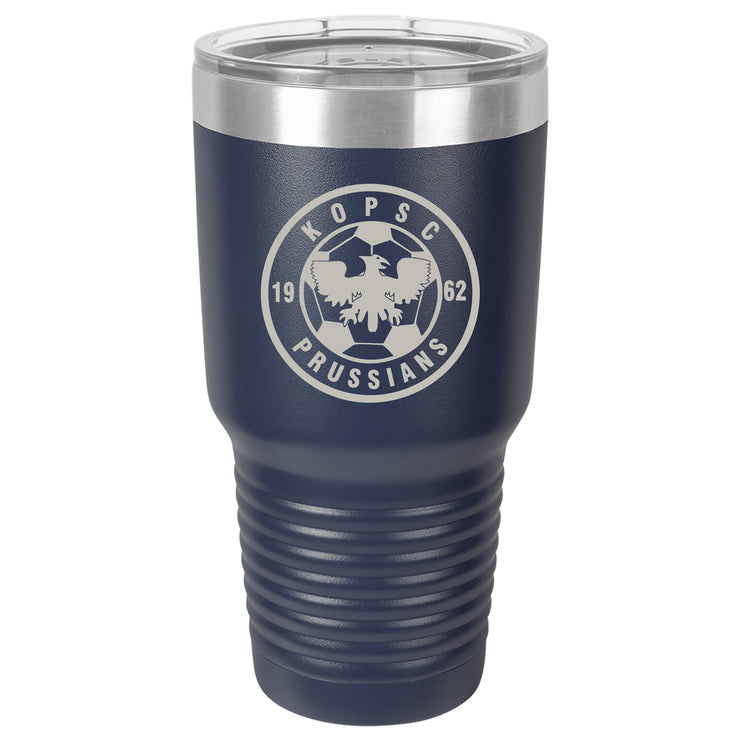 KOPSC Prussians Large 30 oz. Navy Blue Insulated Tumbler with Clear Lid