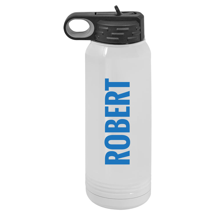Personalized Water Bottle - 30 oz. Wide Mouth with Straw Lid - Large Name