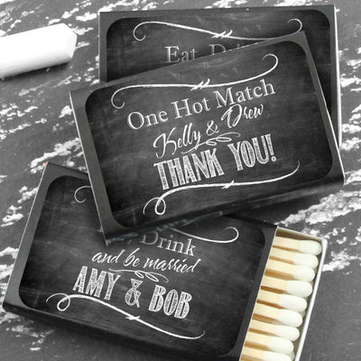 Chalkboard Personalized Matchboxes (Set of 50)