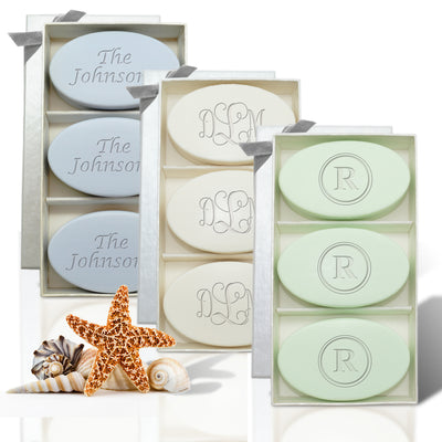 Monogram Soaps, Personalized Carved Soap - 3 soap set