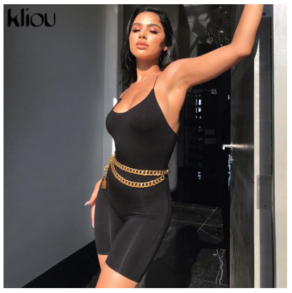 Kliou Black Skinny Spaghetti Strap sleeveless Street Woman Rompers 2019 bar Club Bodycon Bodysuit en Jumpsuits Body Femme