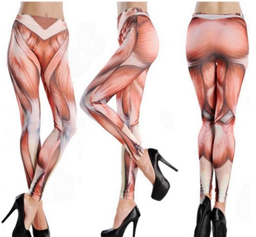 Funny Halloween High Waist Fitness Muscle Pattern Yoga Pants Tattoo Women Stretch Cropped Leggings