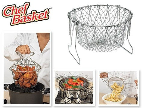 As Seen On TV Chef Basket - Steam Rinse Strain Deep Fry Basket Strainer Net Kitchen Cooking Tool - Home and Kitchen