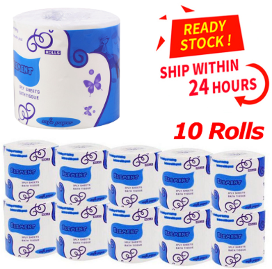 10 Rolls Toilet Paper 3-Layer Bathroom Kitchen Household Living Room Tissue Party Supplies Disposable Practical Toilet Paper