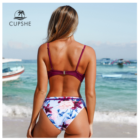 CUPSHE Push Up Floral Wrap Bikini Sets Women Sexy Thong Two Pieces Swimsuits 2020 Girl Beach Bathing Suits Swimwear