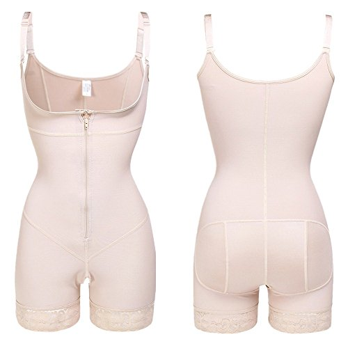 Lover-Beauty Invisible Bodysuit Open Bust Shapewear Plus Size Body Shaper Beige Plus 4XL