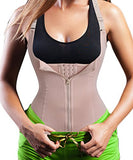 Eleady Women's Underbust Corset Waist Trainer Cincher Steel Boned Body Shaper Vest with Adjustable Straps (M, Beige)