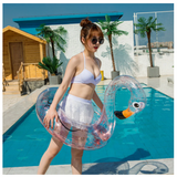 Hot sale Transparent Inflatable Flamingo Rainbow Unicorn pool Float swim ring Swimming Float Tube Circle pool Sequin Pool Toy
