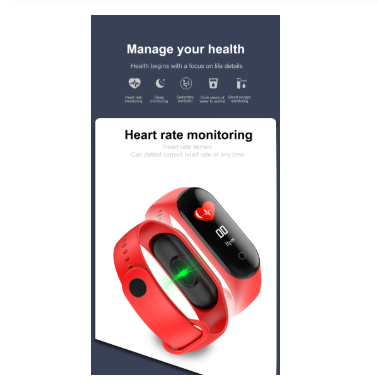 Bluetooth M4 Smart Wristbands Blood Pressure Heart Rate Monitor Colorful Touch Screen M4 Smart Band For Android Sport Smartband