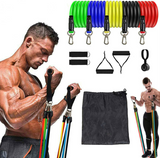 12Pcs/Set Latex Resistance Bands Crossfit Training Exercise Yoga Tubes Pull Rope,Rubber Expander Elastic Bands Fitness with Bag