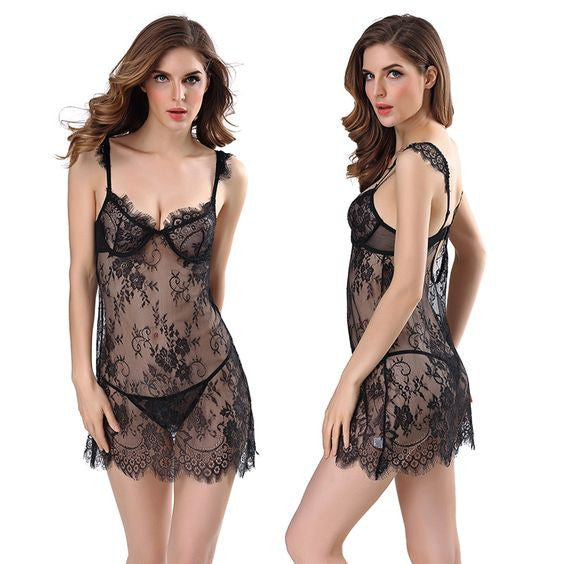 Backless Black Lace Sexy Set Bbydoll G string Lingerie Sleepwear
