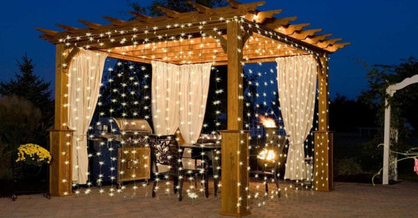 10ft 300 Led Warm White String Curtain Light Led Solar Powered Lights