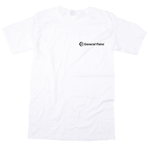 GPC0300-W WHITE T-SHIRTS - General Paint Branded + Your Company | Heavy Weight Short Sleeve Unisex Crew Neck