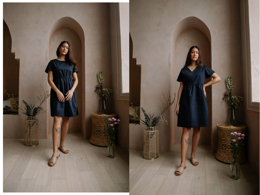 navy blue summer dress organic cotton