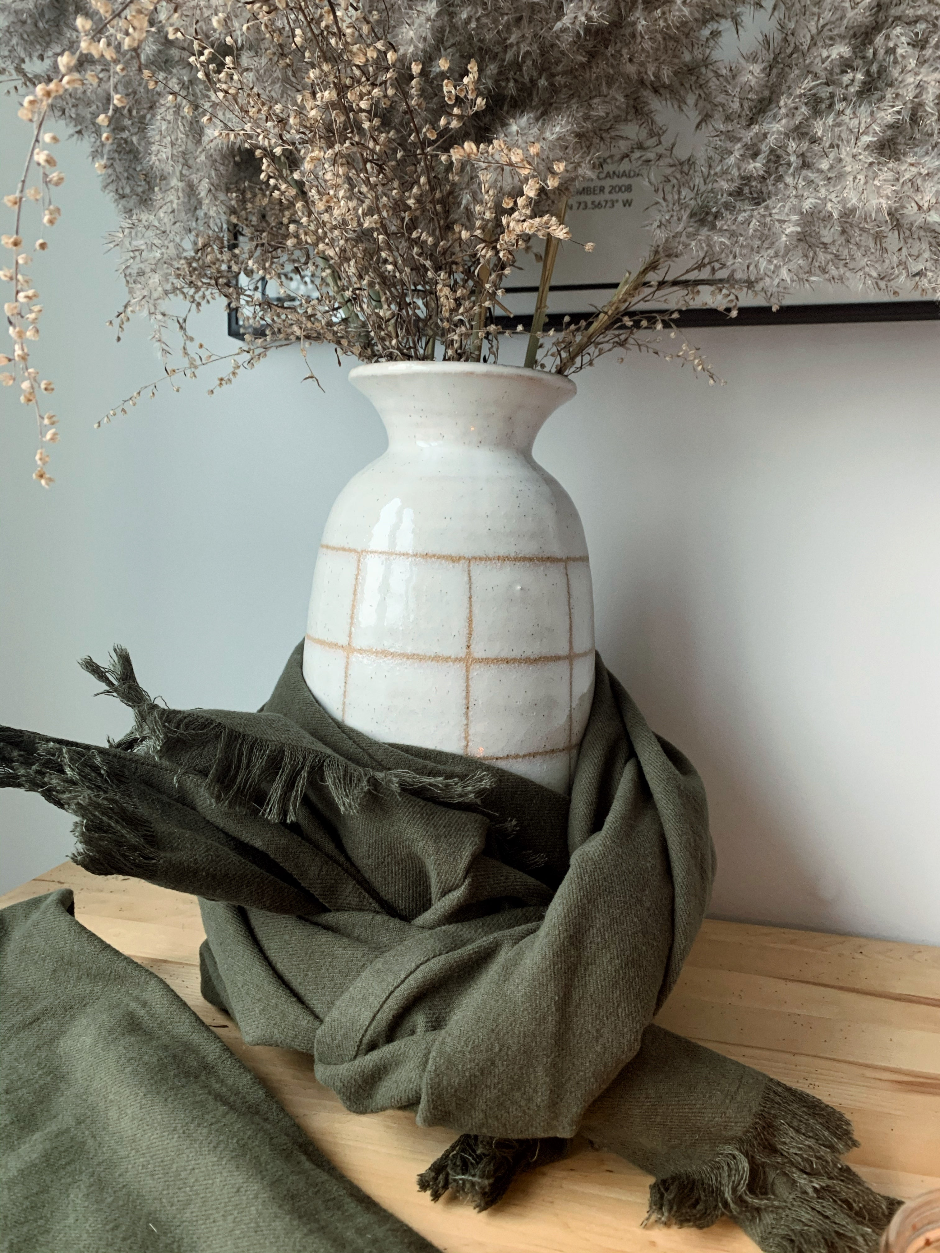 organic cotton scarf in moss
