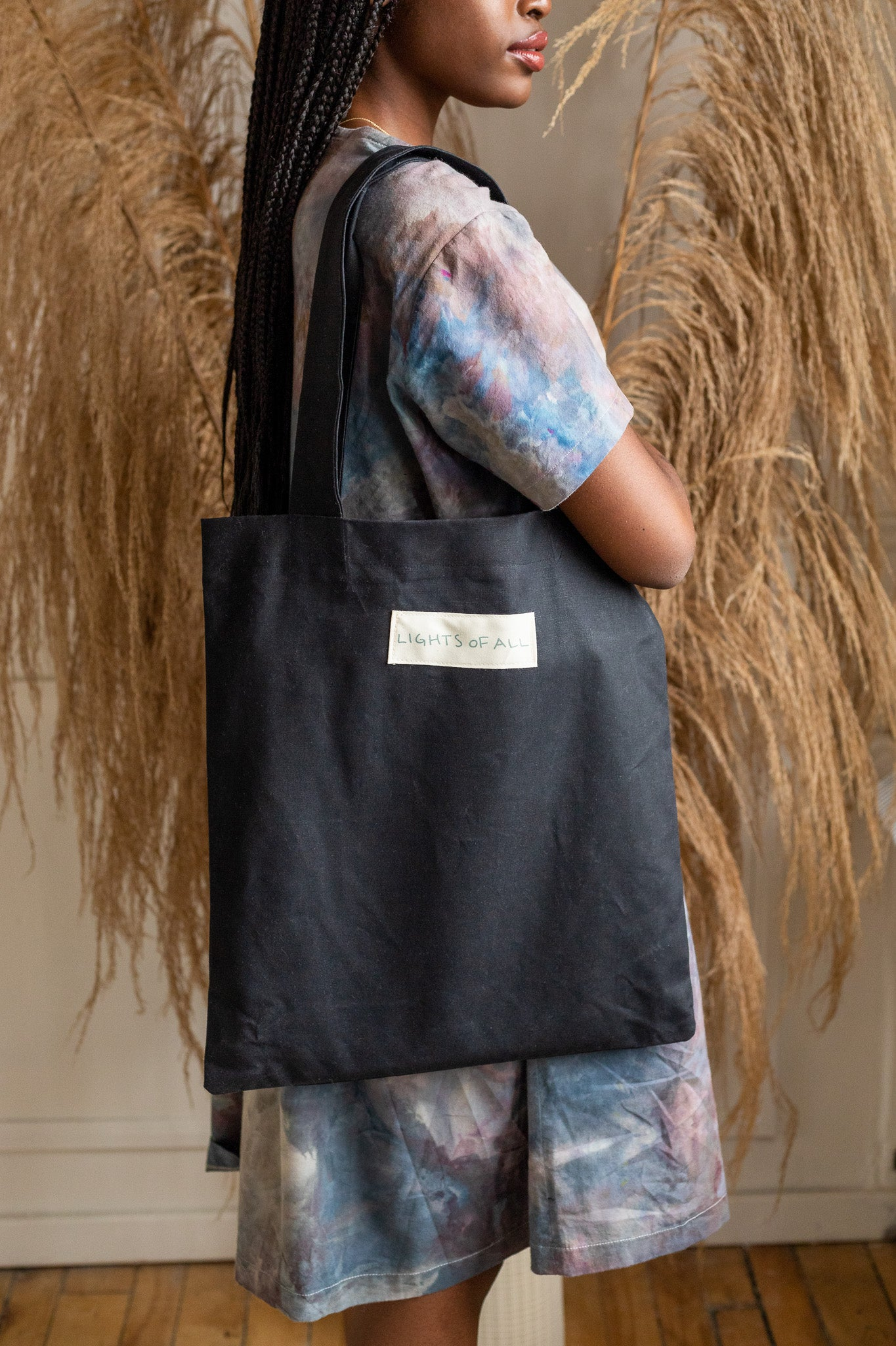 black waxed cotton tote