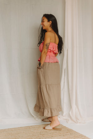 side view of the tiered skirt in linen with hidden pocket