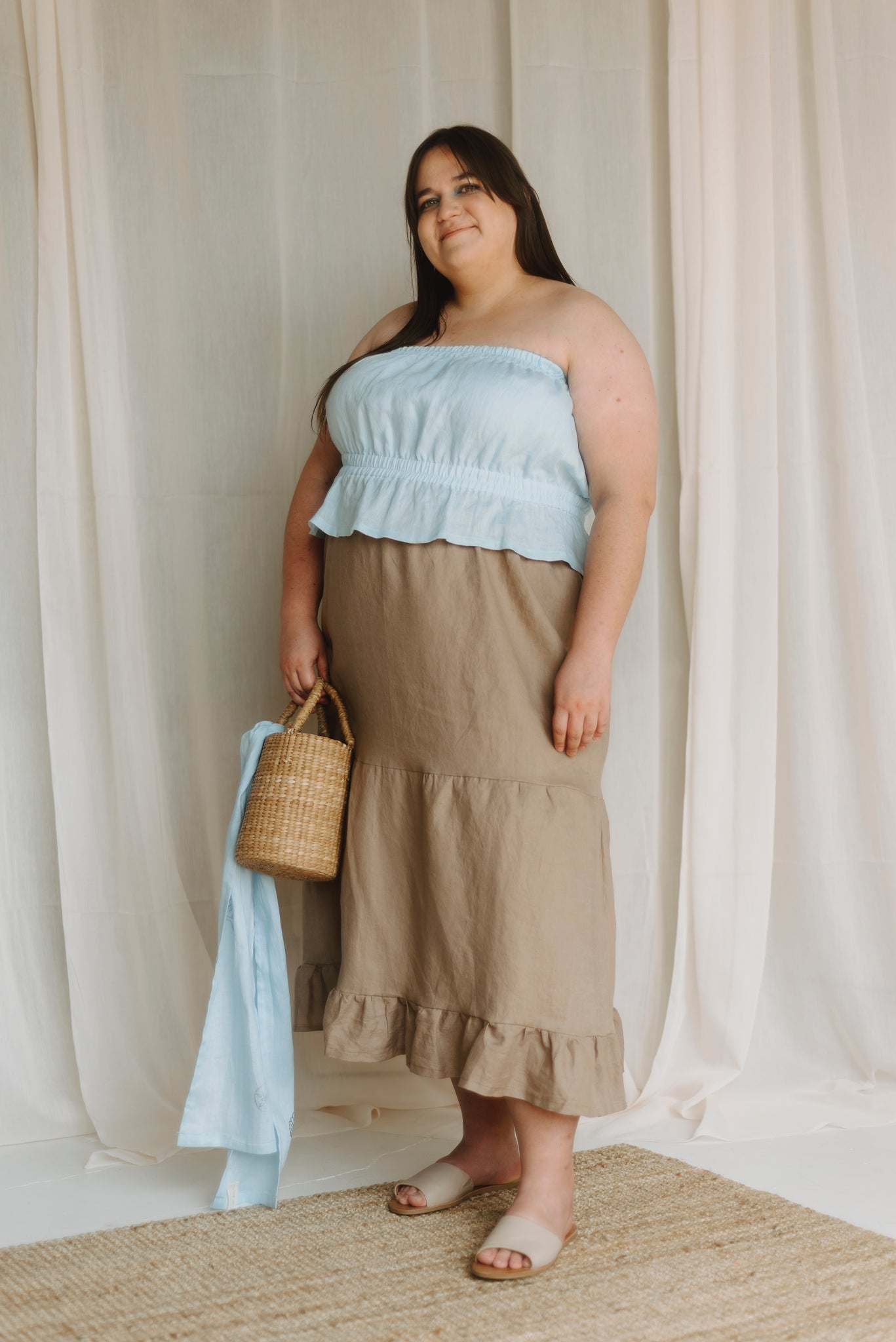 front view of the 3 tiered skirt in clay-color