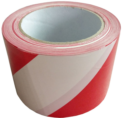 CAUTION  TAPE - RED/WHITE  -  100m x 75mm