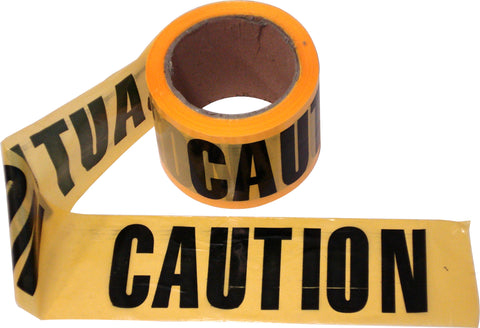 CAUTION  TAPE - YELLOW/BLACK  -  100m x 75mm