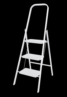 LADDER  - 3 STEP - STEEL - WHITE - RATED TO 100KG