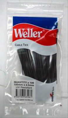CABLE TIES - BLACK - 100 x 2.5mm - 100 PACK