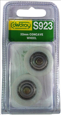 WHEELS -SLIDING DOOR -  CONCAVE WITH AXLE - 32`mm - 2 PACK