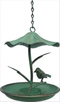 BIRD FEEDER - HANGING - ANTIQUE GREEN