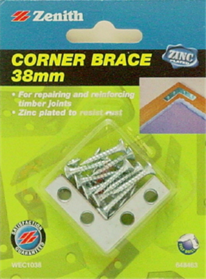 CORNER BRACE - FLAT - ZP STEEL - 38mm - 4 PACK