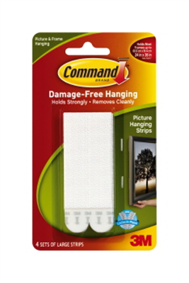 PICTURE HANGER STRIPS - LARGE WHITE  - 4 PACK - COMMAND