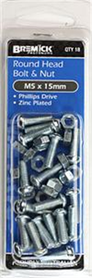 BOLT & NUT - ROUND HEAD - PHILLIPS HEAD ZP -  M5x15mm - PACK OF 18