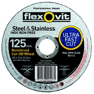CUT OFF WHEEL - ULTRA THIN -   125 x 1 x 22mm - STEEL & STAINLESS