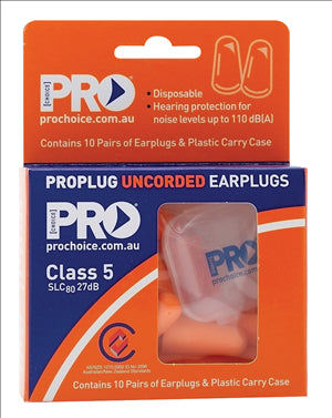 EARPLUGS - UNCORDED - 27Db - 10 PAIRS + CASE