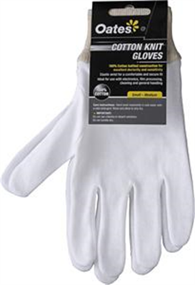 COTTON GLOVES - MENS/WOMENS KNIT WHITE -SMALL/MEDIUM - OATES