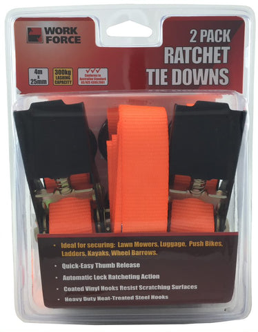 RATCHET TIE DOWNS- 2 PIECE - 4 METRE x 25mm - WORKFORCE - 300KG
