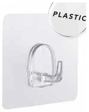 HOOK - CLEAR - SELF ADHESIVE - 4 PACK