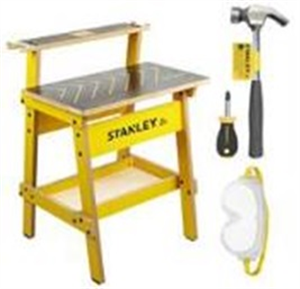 CHILDRENS WORK BENCH & 3 PIECE TOOL SET - STANLEY