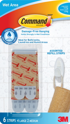 PICTURE HANGER  WET AREA REFILL STRIPS - ASSORTED  - COMMAND