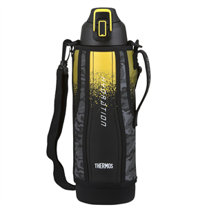 WATER BOTTLE - THERMOS - 1.5 LITRE - WITH POUCH & CARRY STRAP  - YELLOW/BLACK