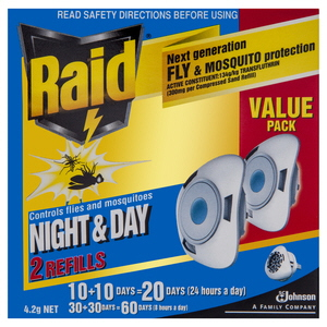 MOSQUITO  & FLY INSECTICIDE REFILL - DAY & NIGHT -  RAID -  PK2