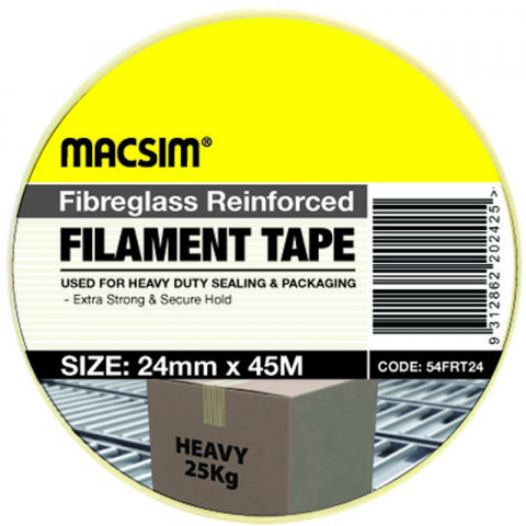 FILAMENT TAPE - FIBREGLASS REINFORCED - 24mm x 45m -  MACSIM