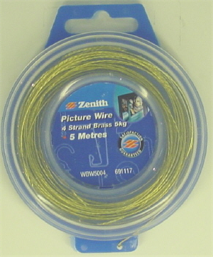 BRASS PICTURE HANGING WIRE -  4 STRAND - 5 METRES (5KG)