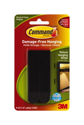 PICTURE HANGER STRIPS - LARGE - BLACK - COMMAND - 4 PACK