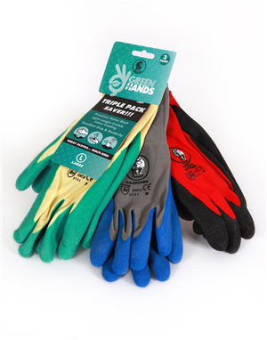 GLOVE - GARDENER - TRIPLE PACK- SAVER -  LARGE