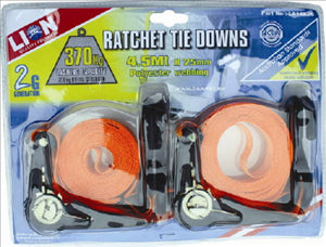 RATCHET TIE DOWNS - HEAVY DUTY - 4.5Metres x 25mm - 370KG - LION - 2 PACK