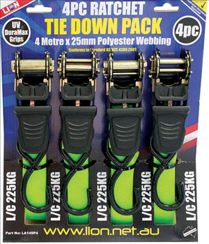 TIE DOWN RATCHET 4m x 25mm - 225KG - LION - 4 PACK