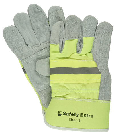 WORK GLOVE - SPLIT LEATHER - FLURO - LARGE