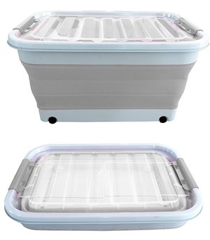 STORAGE TUB - POP UP  - 45 LITRE - GREY/WHITE - WITH WHEELS & LID